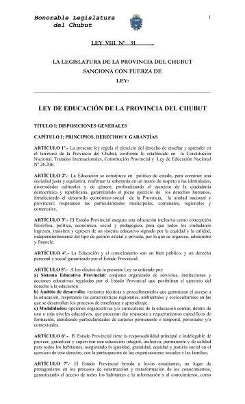 Ley de Educación de la provincia de Chubut - Biblioteca Nacional ...
