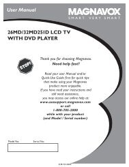 User Manual 26MD/32MD251D LCD TV WITH DVD ... - Magnavox