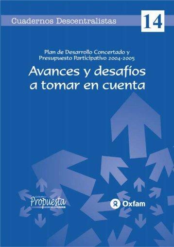 Cuaderno Descentralista # 14 - Grupo Propuesta Ciudadana