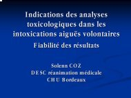 Indication des analyses toxicologiques