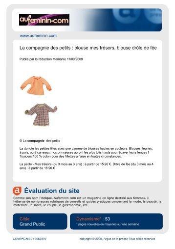 Évaluation du site - La Compagnie des Petits