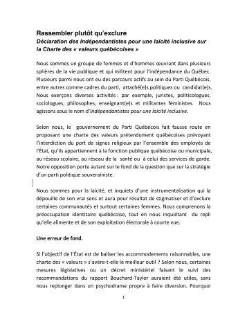 Lire la Déclaration des Indépendantistes pour une laïcité ... - Le Devoir