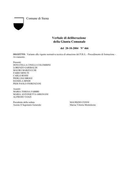 delibera di avvio - Comune di Siena