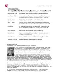 The Expert Panel on Management, Business, and Finance Research