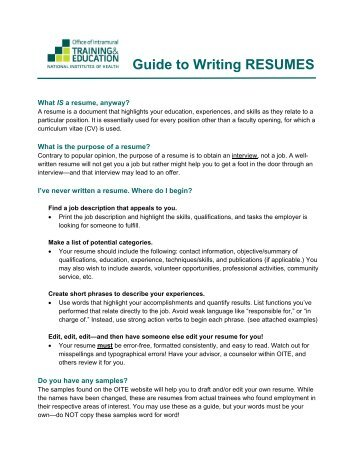 Guide to Writing RESUMES
