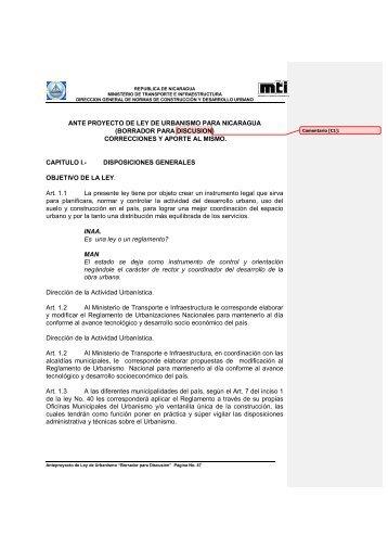 ANTE PROYECTO DE LEY DE URBANISMO PARA NICARAGUA ...