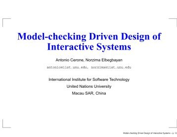 Model-checking Driven Design of Interactive Systems