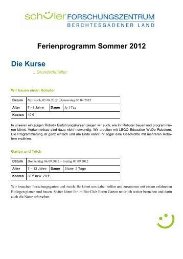 Ferienprogramm Sommer 2012 Die Kurse - Landratsamt ...