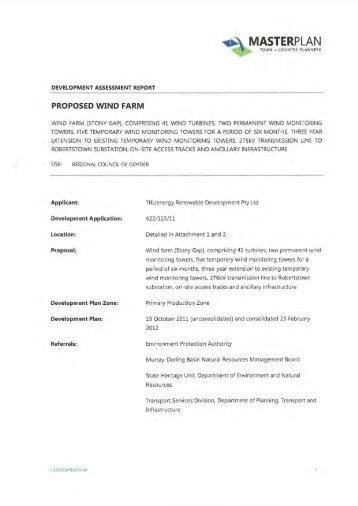 Stony Gap Development Assessment Report - Wind Watch