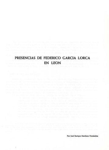 PRESENCIAS DE FEDERICO GARCIA LORCA EN LEON