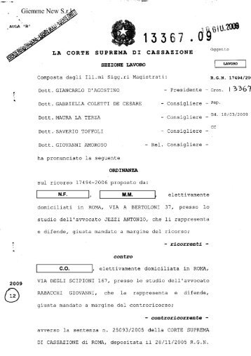 Ordinanza Cassazione 10/6/2009 n.13367 - Falcri