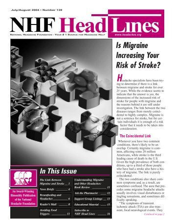 139, July/August 2004 - National Headache Foundation