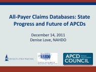 All-Payer Claims Databases: State Progress and Future of APCDs