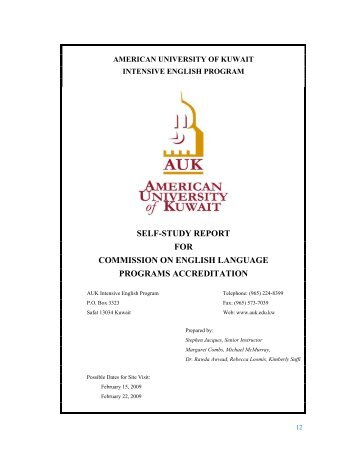 self-study report for commission on english language ... - AUK