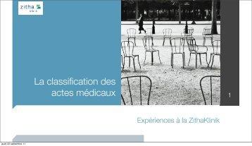 La classification des actes médicaux