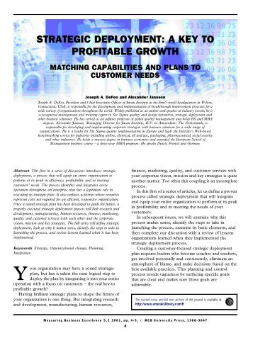 Strategic Deployment: a Key to Profitable Growth ... - Juran Institute