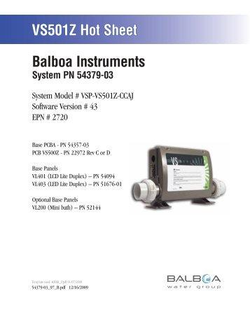 54379-03, VSP-VS501Z-CCAJ - Balboa Direct