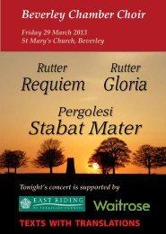 Stabat Mater Requiem Gloria - Beverley Chamber Choir