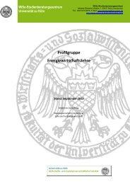Profilgruppe Energiewirtschaftslehre - Universität zu Köln