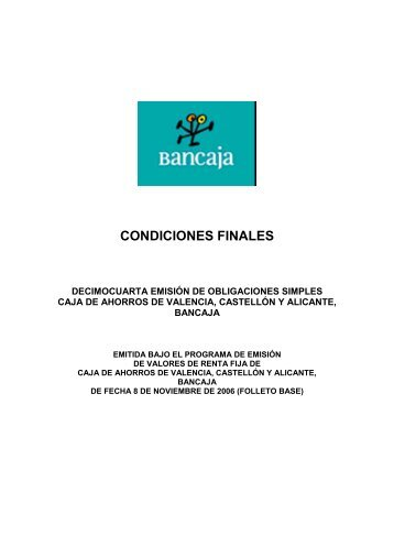 CONDICIONES FINALES - BME Renta Fija