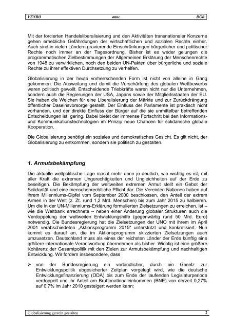 Globalisierung politisch gestalten - Venro