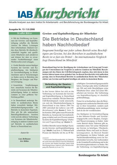 Gewinn- und Kapitalbeteiligung der Mitarbeiter: Die Betriebe in ... - IAB