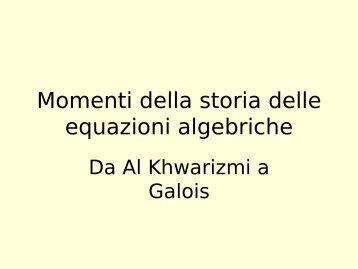 """Momenti di storia dell'algebra - Dipartimento di Matematica """"U. Dini"""""""