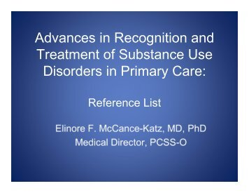 Advances in Recognition and Treatment of Substance ... - PCSS-O