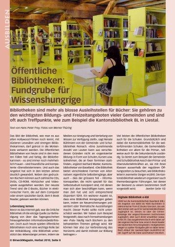 Öffentliche Bibliotheken: Fundgrube für ... - Birseck Magazin