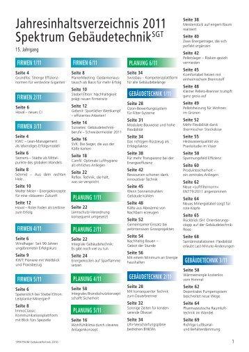 Jahresinhaltsverzeichnis SGT 2011 (PDF) - Robe Verlag AG