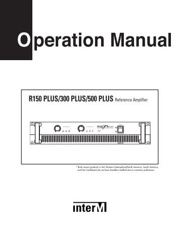 R-500Plus Amplifier Manual - Inter-M