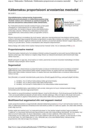 Käibemaksu proportsiooni arvestamise meetodid - Sorainen