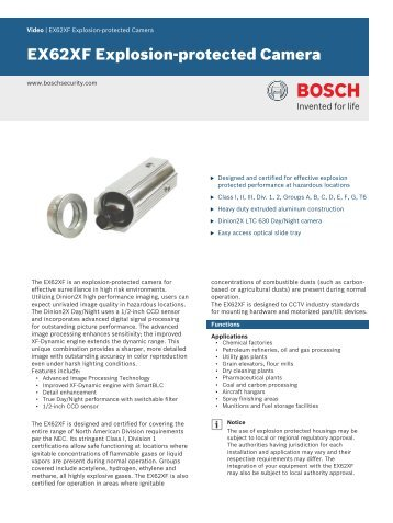 EX62XF Explosion-protected Camera - Bosch Security Systems