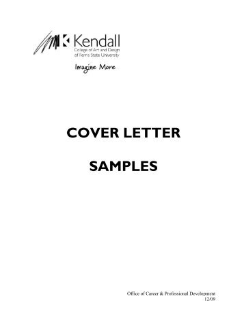COVER LETTER SAMPLES - Kendall College of Art and Design