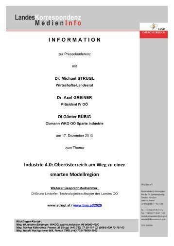 INFORMATION Industrie 4.0 - Landesrat Michael Strugl