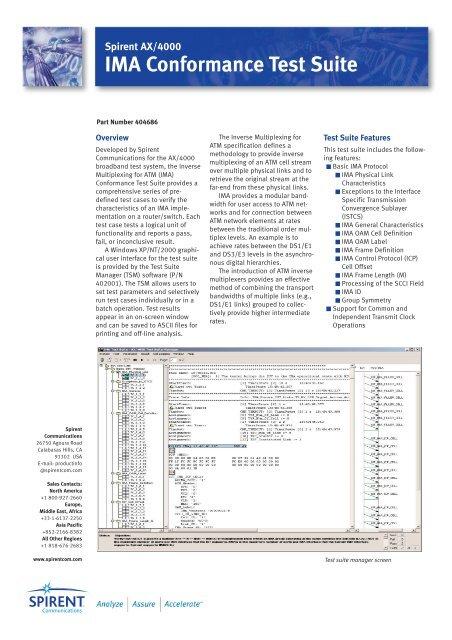 AX4000 IMA Conformance Test Suite - Spirent Communications