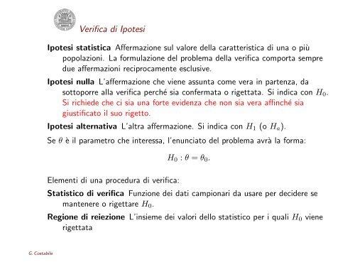 Verifica di Ipotesi - DMI