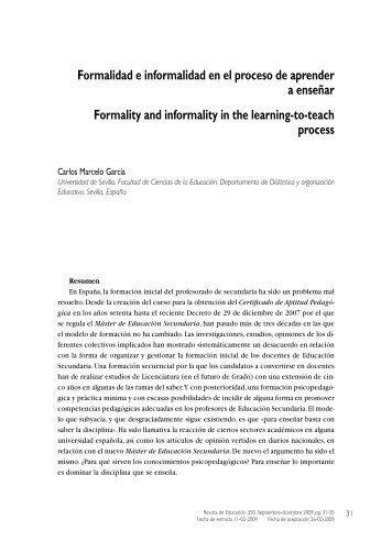 Formalidad e informalidad en el proceso de aprender a enseñar ...