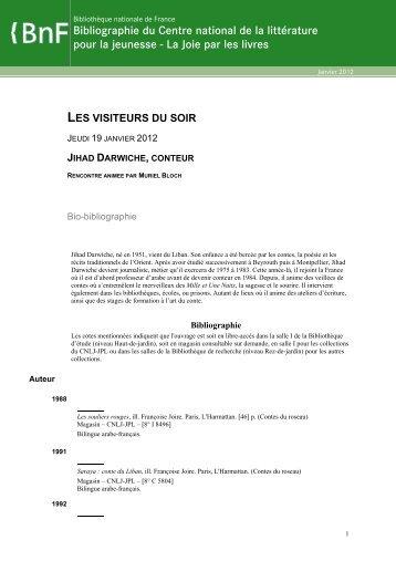 Bio-bibliographie - La joie par les livres - Bibliothèque nationale de ...