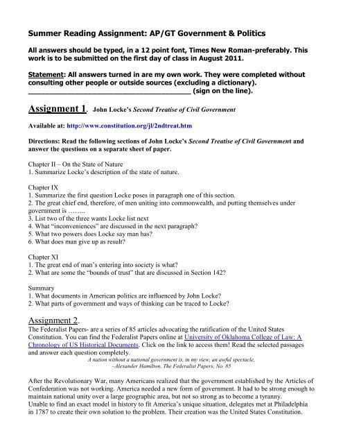 Summer Reading Assignment AP GT Government Politics
