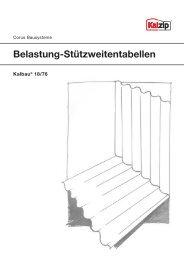 Belastungs-Stützweitentabellen für Kalbau® 18/76 - Kalzip