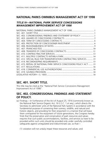 NATIONAL PARKS OMNIBUS MANAGEMENT ACT OF 1998
