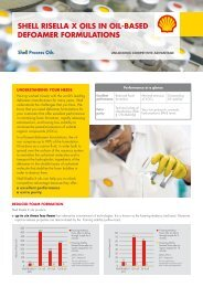 shell risella x oils in oil-based defoamer formulations