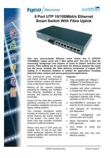 8 Port UTP 10/100Mbit/s Ethernet Smart Switch ... - YE International