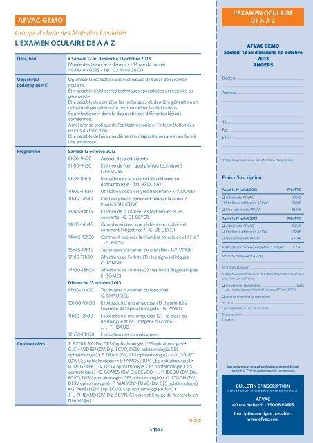 Groupe d'Etude des Maladies Oculaires L'EXAMEN ... - AFVAC