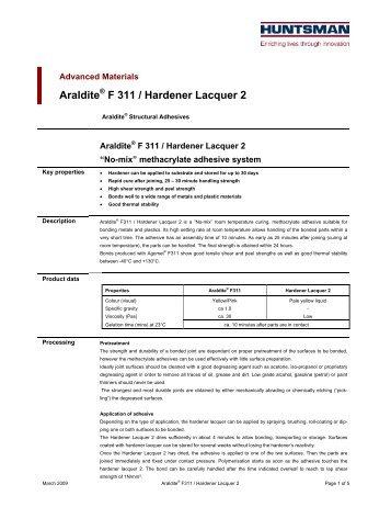 Araldite F 311 / Hardener Lacquer 2 - DanLube