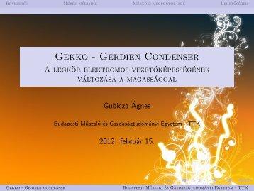Gekko - Gerdien Condenser - A légkör elektromos ...