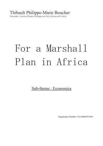For a Marshall Plan in Africa