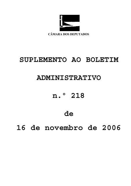 SUPLEMENTO AO BOLETIM ADMINISTRATIVO n.º 218 de 16 de ...