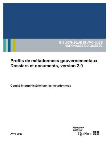 Profils de métadonnées gouvernementaux, Dossiers et documents ...